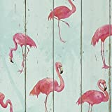 Rasch Barbara Becker Holzplatte Muster Tapete Faux-effekt Flamingo Vogel Motiv - Türkis 479706
