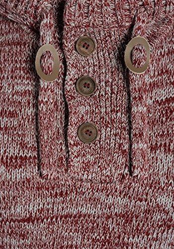 SOLID Philon Herren Strickpullover Strickhoodie Kapuzenpullover aus 100% Baumwolle Meliert Wine Red Melange (8985)