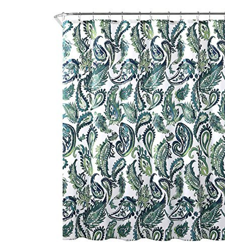 Hudson & Essex Dekorative Blau Grün Stoff Vorhang für die Dusche: Watercolor Floral Paisley Design, 182,9x 182,9cm Zoll (Vorhänge Stoff Dusche)