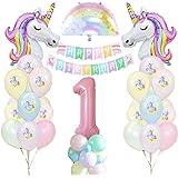 1 Anni Unicorno Festa Compleanno Ragazze, 1Anni Unicorno Palloncino Compleanno Banner Palloncino Macaron Palloncino In Lattic