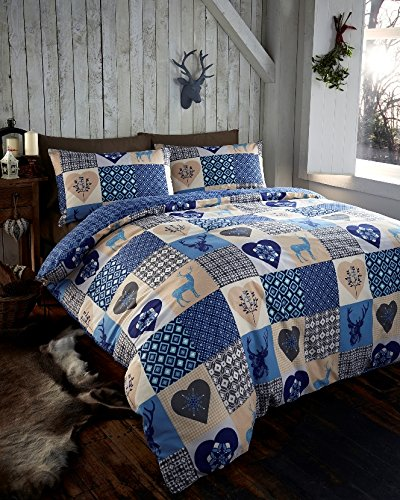 Rustic Stags Rein Deer Duvet Quilt Cover King Patchwork Bedding Bed Set Blue New