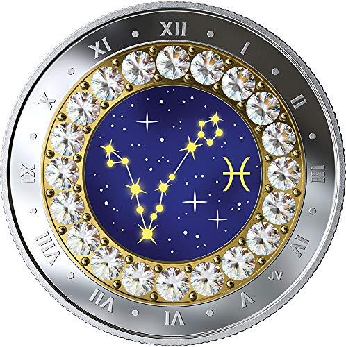 Power Coin Pisces Fische Zodiac Swarovski Crystal Silber Münze 5$ Canada 2019