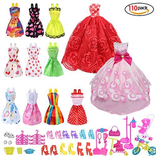 RUNFON Accesorios para Barbie,Accesorios de Vestir para las Muñecas de Barbie, 10pcs Verano Faldas Vestidos + 2 pcs vestido de novia +98 accesorio de Barbie
