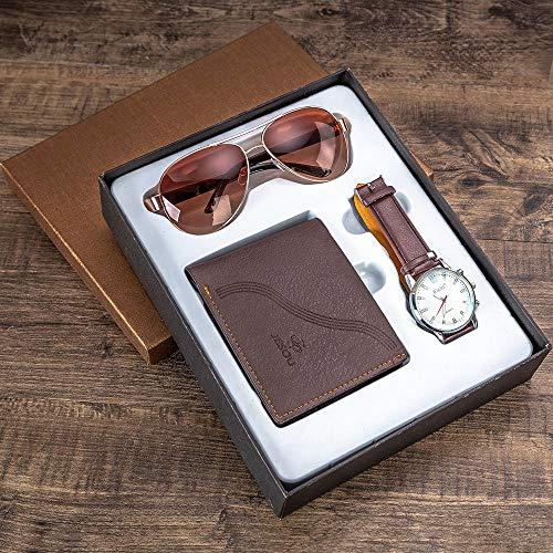 Geschenkset Für Herren Geschenkset Für Herren Wunderschön Verpackte Uhr Brieftasche Sonnenbrille Set Geld Kreative Kombination Weiße Oberfläche Brauner Gürtel