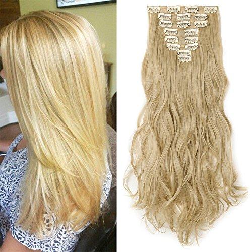Extension clip capelli mossi full head hair estensioni 8 fasce 42cm capelli lunghi mossi, biondo dorato& biondo chiarissimo