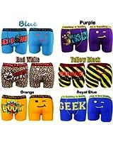 6 Packs Men's Designer Novelty Rude Ballsy Boxers Trunks Funny Underwears