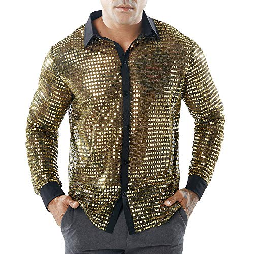 IMJONO Clearance!Fashion Men es Herbst Casual Shirts Long Ärmel Shirt Hollow Shirt Top Bluse (2X-Large,Gold)