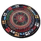 Teppich TeppichRug Teppich Vintage Mayan Muster Round Teppich Stuhl Rest Teppich Wohnzimmer Studie Schlafzimmer Nachttisch Classic Style Teppich Home Teppich ( Color : Multi-colored , Size : 120*120 )