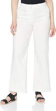 Marchio Amazon - find. Pantaloni Gamba Larga in Lino Donna