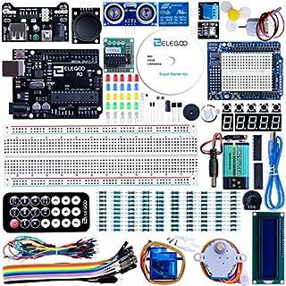 ELEGOO Starter Kit R3 Projekt Einsteigerset mit Tutorial auf Deutsch, R3 Mikrocontroller, 5V-Relais, Stromversorgungsmodul, Servomotor, Erweiterungsplatine des Prototyps u.a. Zubehöre