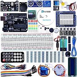 ELEGOO Conjunto Medio de Iniciación Compatible con Arduino IDE con Tutorial en Español y Conjunto de Relé de 5V, Modulo de Fuente de Alimentación, Servomotor, UNO R3 Placa de Desarrollo de Prototipos