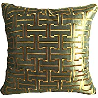 geometrico motivo stampato cuscino Chezmax zippered imitato tessuto di seta throw Pillow case Sham Pillowslip piazza decorativo federa, Green Geometric, 20*20''WITHOUT FILLER