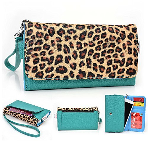 Kroo Pochette Téléphone universel Femme Portefeuille en cuir PU avec dragonne compatible avec ASUS Pegasus/Padfone x Mini Multicolore - Magenta and Black Multicolore - Emerald Leopard