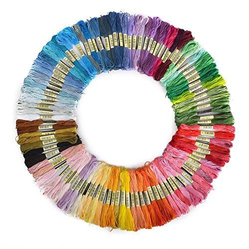 NiceButy Lot de 100 Broderie Fils Point de Croix Tricotage Echevettes de Fils Pour Broderie, Bracelets Brésiliens Multicolores
