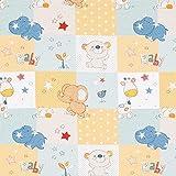 Fabulous Fabrics Cretonne Babyzoo – hellblau/gelb — Meterware ab 0,5m — Oeko-Tex Standard 100 — zum Nähen von Babydeko, Kinderartikeln und Bettwäsche