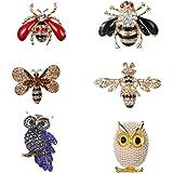 LWZko 6 Piezas Conjunto de Broche de Mujer, Broches de Animales, Colorido Vintage con Diseño de Forma de Animal de Búho Abeja