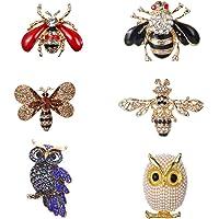 LWZko 6 Pezzi Set di Spilla Donna, Spille Animali, Spilla di Animali in Cristallo Insetto, Vintage Colorato con Owl Bee…