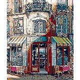 Yqgdss DIY Ölgemälde by Zahlen Shop Tür Landschaft Wandkunst Färbung Leinwand Bilder Wohnzimmer Dekor Anfänger Kind Zeichnung Geschenk Unvollendet,40x50cm