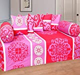 #8: Home Elite Multicolored Cotton Diwan Set ( Pack Of 8 Piece)