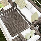 Tapiso JOGO Outdoor Teppich Flachgewebe Strapazierfähig | Modern Sisal Optik Geometrsich Karo in Taupe | Ideal für Terrasse, Balkon, Wohnzimmer 140 x 200 cm