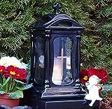 ♥ GRABLAMPE KERAMIK 30,0cm SCHWARZ GLAS KREUZ MIT GRABKERZE GRABLATERNE GRABLICHT GRABSCHMUCK GRABLEUCHTE LATERNE LAMPE LICHT KERZE