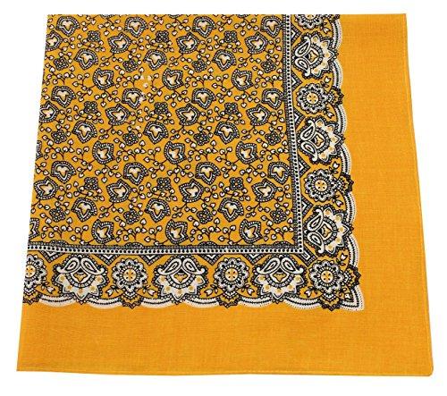 Tobeni 548 Bandana Nickituch in 100 Baumwolle für Damen und Herren Farbe Paisley Gelb Grösse 54 cm x 54 cm