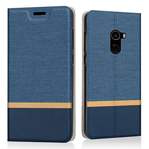 Preisvergleich Produktbild Xiaomi Mi Mix 2 Hülle, Riffue Dünnes Retro Denim Muster PU Leder Schutz Folio Schützende Abdeckung für Xiaomi Mi Mix 2 - Blau