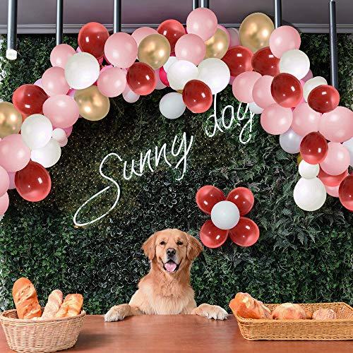 eko Rose Gold Happy Birthday Luftballons, 115 Stück Rosa Weiße Rote Gold Luftballons, Partyzubehör Ballons für Hochzeit und Geburtstag, Weihnachten, Brautgeschenke, Baby-Duschen ()