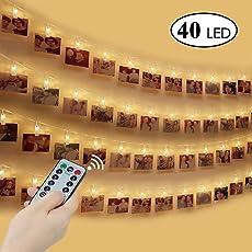 LED Foto Clip Lichterkette , otumixx LED Foto Lichterkette 40 Foto-Clips 4,2 Meter Warmweiß Foto Lichterketten mit Fernbedienung, USB Port Ladung und Batteriebetrieben 8 Modi für Bilder Fotos Karten