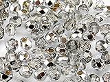 50pcs Tschechische Facettierten Glasperlen Fire-Polished Rund 6 mm Crystal Silver