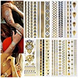 Tätowierung Wasserdicht Flash Tattoos - Metallic Temporäre Tattoos 13er Set...