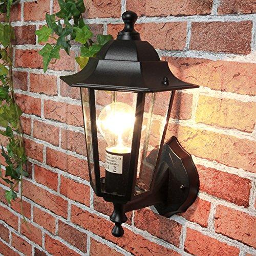 Außenlampe Wandleuchte PARIS Schwarz stehend IP44 E27 rustikale Außenleuchte Hof Garten Balkon Tür Lampe-haus