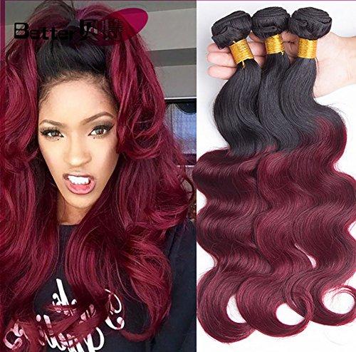 Brasilianisch Karosserie Welle Haar Weben Schwarz zu rot 1B/99J# Virgin Mensch Echthaar Tressen Haarverlängerung Schussfäden 100% Mensch Haar Erweiterungen 1 Bündeln 100g , 12