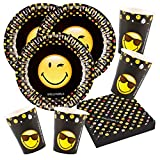 52-teiliges Party-Set Smiley Emoticons - Teller Becher Servietten für 16 Personen