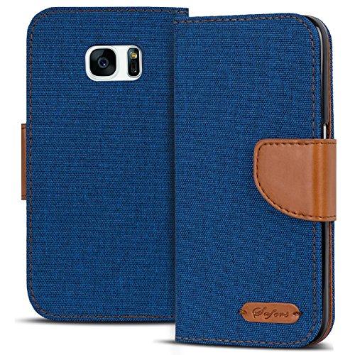 Conie Textil Hülle kompatibel mit Samsung Galaxy S7, Booklet Cover Blaue Handytasche Klapphülle Etui mit Kartenfächer