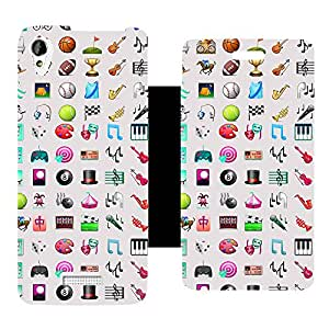Skintice Designer Flip Cover with Vinyl wrap-around for Lava Iris X1 Atom, Design - Emoji pattern