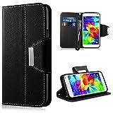 Vakoo Galaxy S5 Mini Hülle, Handyhülle Leder Flip Case Schutzhülle für Samsung Galaxy S5 mini Smartphone (4,5 Zoll) Tasche Cover (Schwarz)