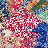 Liberty Print Cotton Tana Lawn Fabric Scrap Bag - 12 Pieces Approx 10 x 10cm