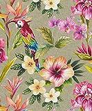 Holden Decor Tropical Parrot Gold Effekt Tapete 98820–Floral Blattwerk Leafs