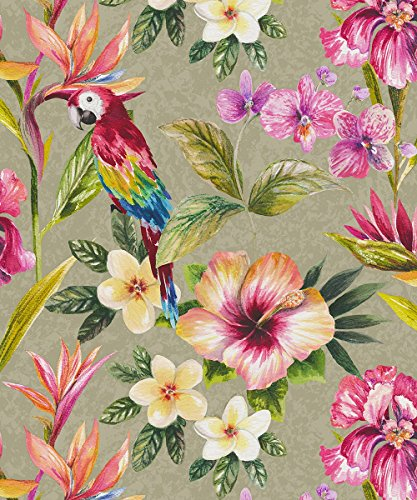 Gold Leaf Wallpaper (Holden Decor Tropical Parrot Gold Effekt Tapete 98820 – Floral Blattwerk Leafs)