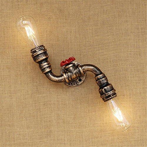 HJZY Vintage Wasserrohr Wand Leuchte industrielle Messing E27 2-Licht Wandleuchte Edison Lampe Retro Metall Wandleuchte Retro Decke Pedant Leuchte Retro Wandleuchte (nicht enthalten Birne) - Messing Bad-leuchten