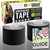 Black Pre Cut Kinesiology Tape - 2 Multipack Pre-Cut Sport Tapes Strapping For Muscle Sports Support | Pro 5m Medical Roll No Label H20 20 x Precut Waterproof Athletic Physio Muscles Strips | FREE PDF Ebook Taping Guide