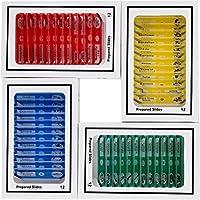 UKCOCO 48 piezas preparadas Microscopio Diapositivas Espécimen Animales Insectos Plantas Flores Muestra Para niños Estudiantes Niños Educación (un color por caja, amarillo/rojo / verde/azul)