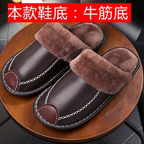 Fankou inverno non - slip impermeabile home home carni bovine tendine fondo spesso giovane Haining pantofole in pelle PU maschio pantofole di cotone Hellbraun