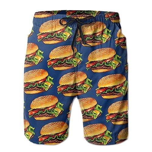 horts Cheeseburger 3D Printing Quick Dry Bathing Suit Swim Trunks ()