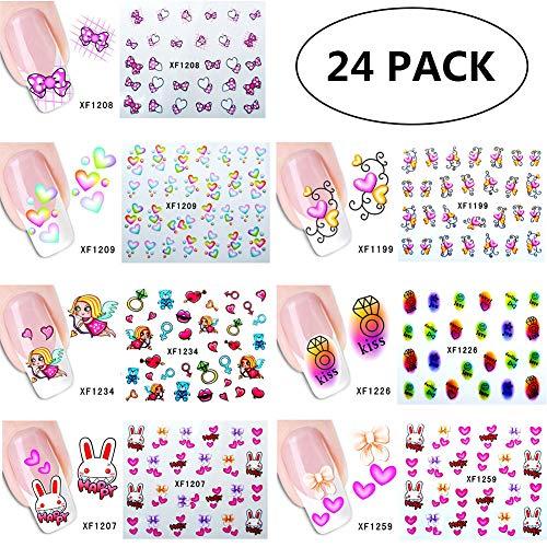 Ssowun Nagelsticker 24 Blätter DIY Fingernägel Aufkleber Nailart Sticker Tattoo Nagel Aufkleber Nail Stamping für Anfänger Nagelstudio EINWEG Verpackung -