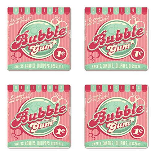 Lunarable 1950er-Jahre-Untersetzer-Set Bubble Gum Tasty Candy Lollipop Sweet Sugar Advertise Poster-Stil quadratische Hartfaserplatte glänzend Untersetzer für Getränke Blassrosa Magenta Seafoam -