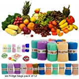 Fridge Vegetable And Fruit Bag ( Reusable Fridge Bags / Net Bags ) Reusable Produce Bags - Premium Washable Mesh Bags For Grocery Shopping & Storage Of Fruit Vegetable - Eco Friendly Net Bags ( Pack Of 12 Bags )
