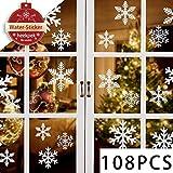 heekpek 108 Stk Schneeflocken Selbstklebend Fensterschmuck Weihnachten Schneeflocke Weihnachtsdeko Fenstertattoo Wandtattoo Weihnachten Deko Weiss - wiederverwendbar PVC Aufkleber Winter Dekoration