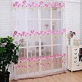 Tulip transmitencia ligera inelástica poliéster Vertical persianas ventana cortinas tul impresión Offset proyección guardamalleta, 100 * 200cm, color de rosa, 1 panel